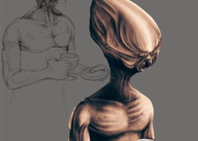 alien having coffee - concept art